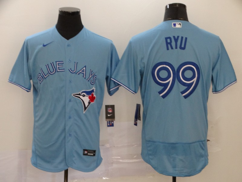 Men's Toronto Blue Jays #99 Hyun-Jin Ryu Blue Flex Base Stitched MLB Jersey