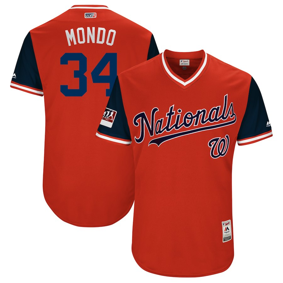 "Men's Washington Nationals #34 Bryce Harper ""Mondo"" Majestic Navy 2018 Players' Weekend Stitched MLB Jersey"