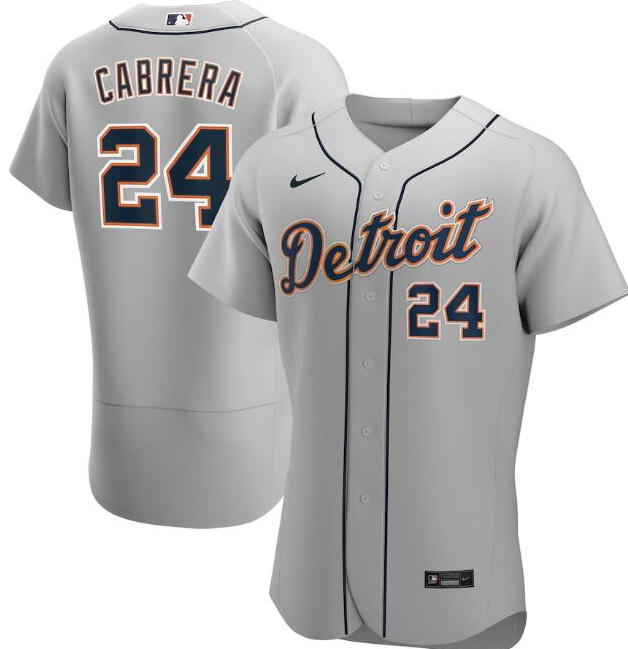 Men's Detroit Tigers Grey #24 Miguel Cabrera Flex Base Stitched MLB Jersey