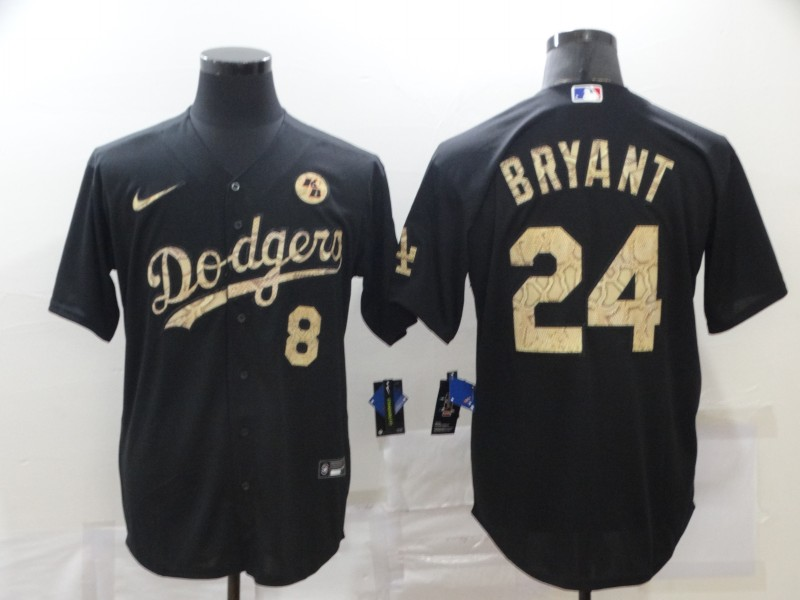 Men's Los Angeles Dodgers Front #8 Back #24 Kobe Bryant With KB Patch Black Cool Base Stitched MLB Jersey