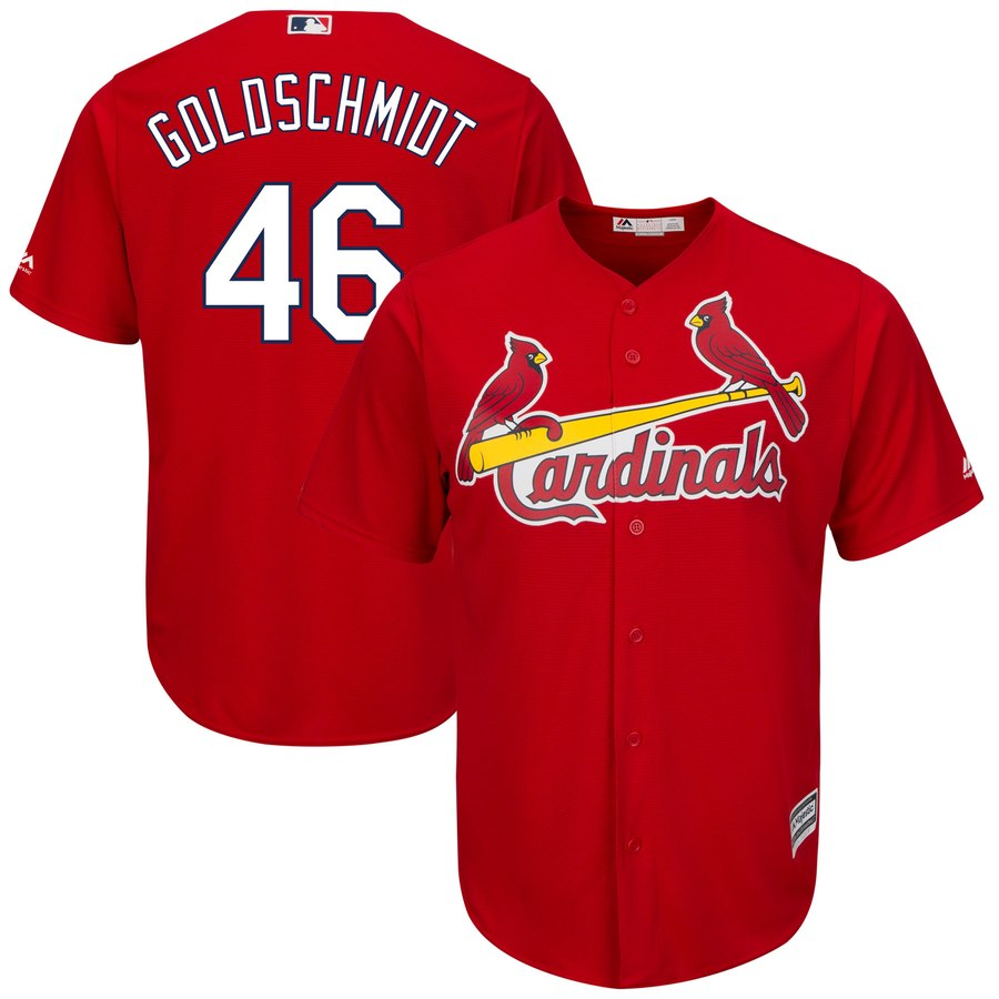 Men's St. Louis Cardinals #46 Paul Goldschmidt Majestic Red Cool Base Stitched MLB Jersey