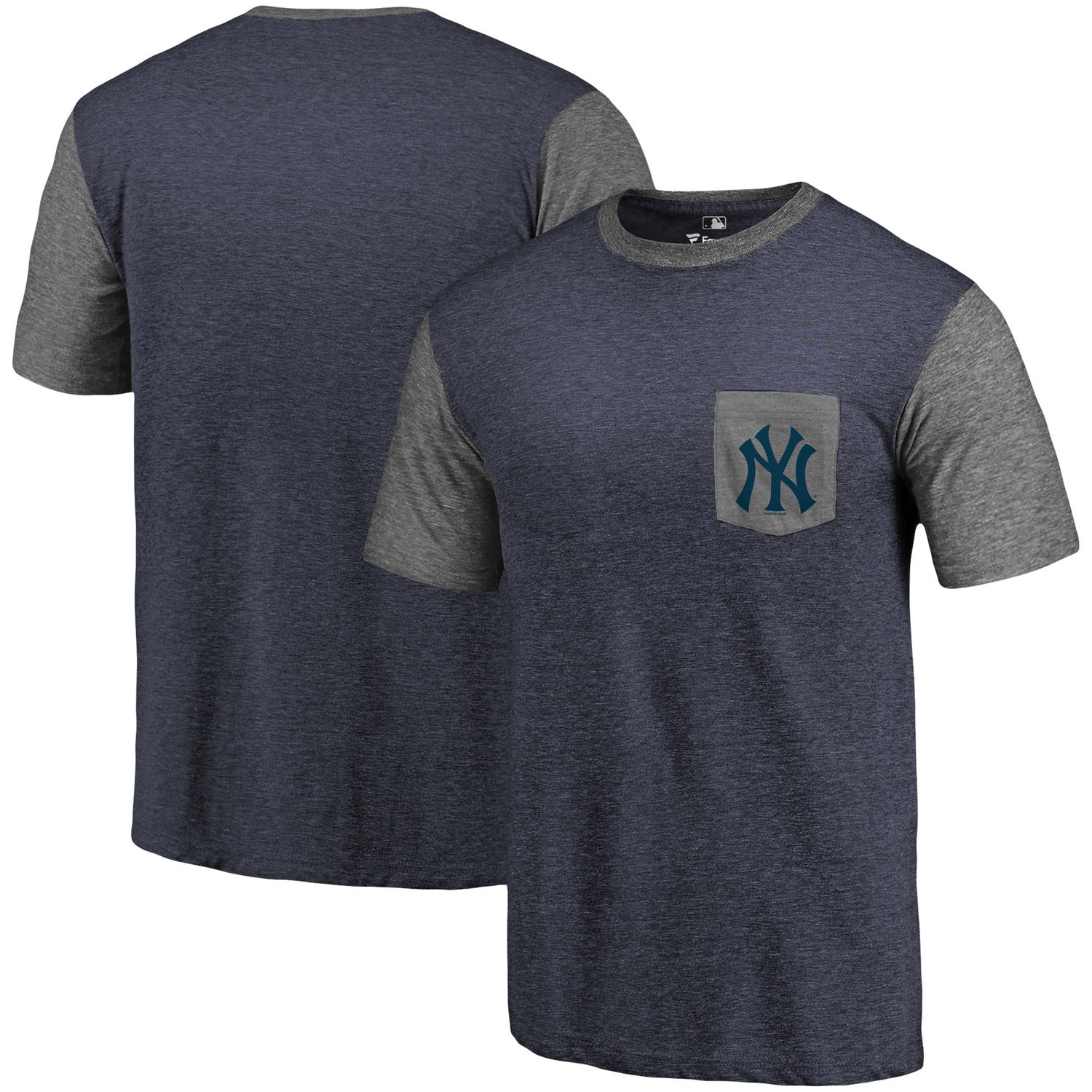 Men's New York Yankees Fanatics Branded Navy-Heathered Gray Refresh Pocket T-Shirt