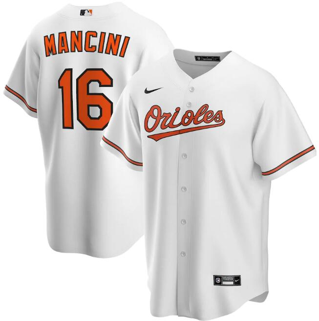 Men's Baltimore Orioles White #16 Trey Mancini Cool Base Stitched MLB Jersey