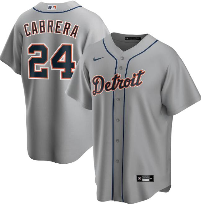 Men's Detroit Tigers Grey #24 Miguel Cabrera Cool Base Stitched MLB Jersey