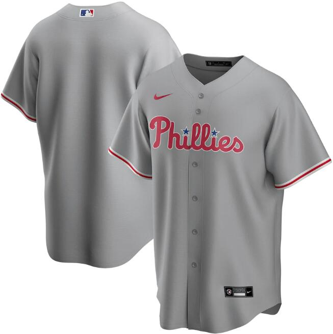 Men's Philadelphia Phillies Grey Cool Base Stitched MLB Jersey