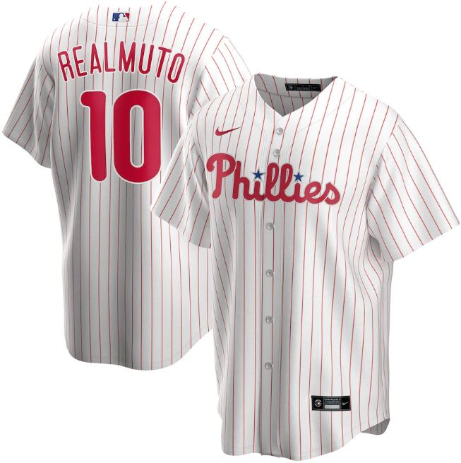 Men's Philadelphia Phillies White #10 J.T. Realmuto Cool Base Stitched MLB Jersey