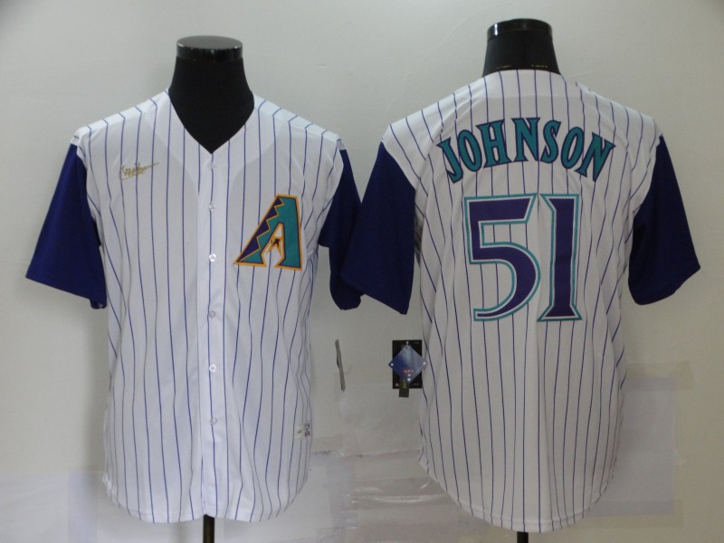 Men's Arizona Diamondbacks #51 Randy Johnson White Throwback Cool Base Stitched MLB Jersey