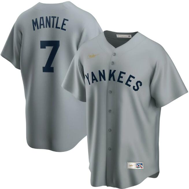 Men's New York Yankees Grey #7 Mickey Mantle Cool Base Stitched MLB Jersey.
