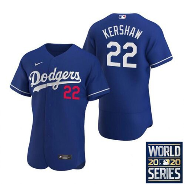 Men's Los Angeles Dodgers #22 Clayton Kershaw Blue 2020 World Series Bound Stitched MLB Jersey