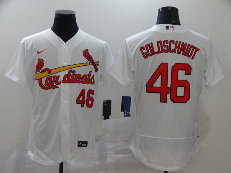 Men's St. Louis Cardinals #46 Paul Goldschmidt White Flex Base Stitched MLB Jersey