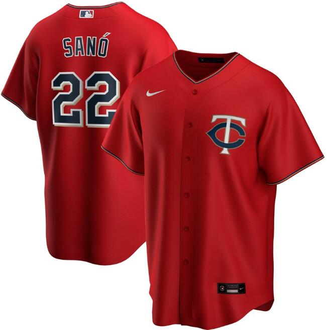 Men's Minnesota Twins Red #22 Miguel Sanó Cool Base Stitched MLB Jersey
