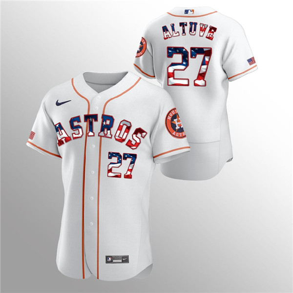 Men's Houston Astros White #27 Jose Altuve 2020 Stars & Stripes Flex Base Stitched MLB Jersey