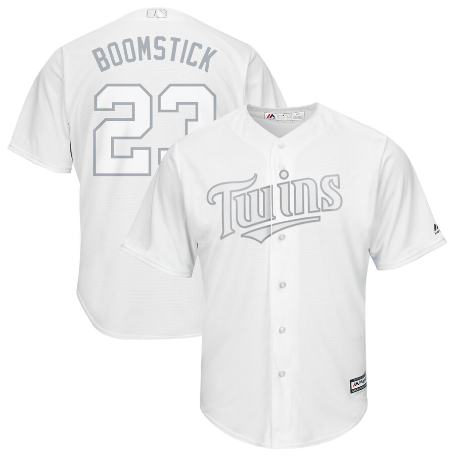 "Men's Minnesota Twins #23 Nelson Cruz ""Boomstick"" Majestic White 2019 Players' Weekend Player Stitched MLB Jersey"