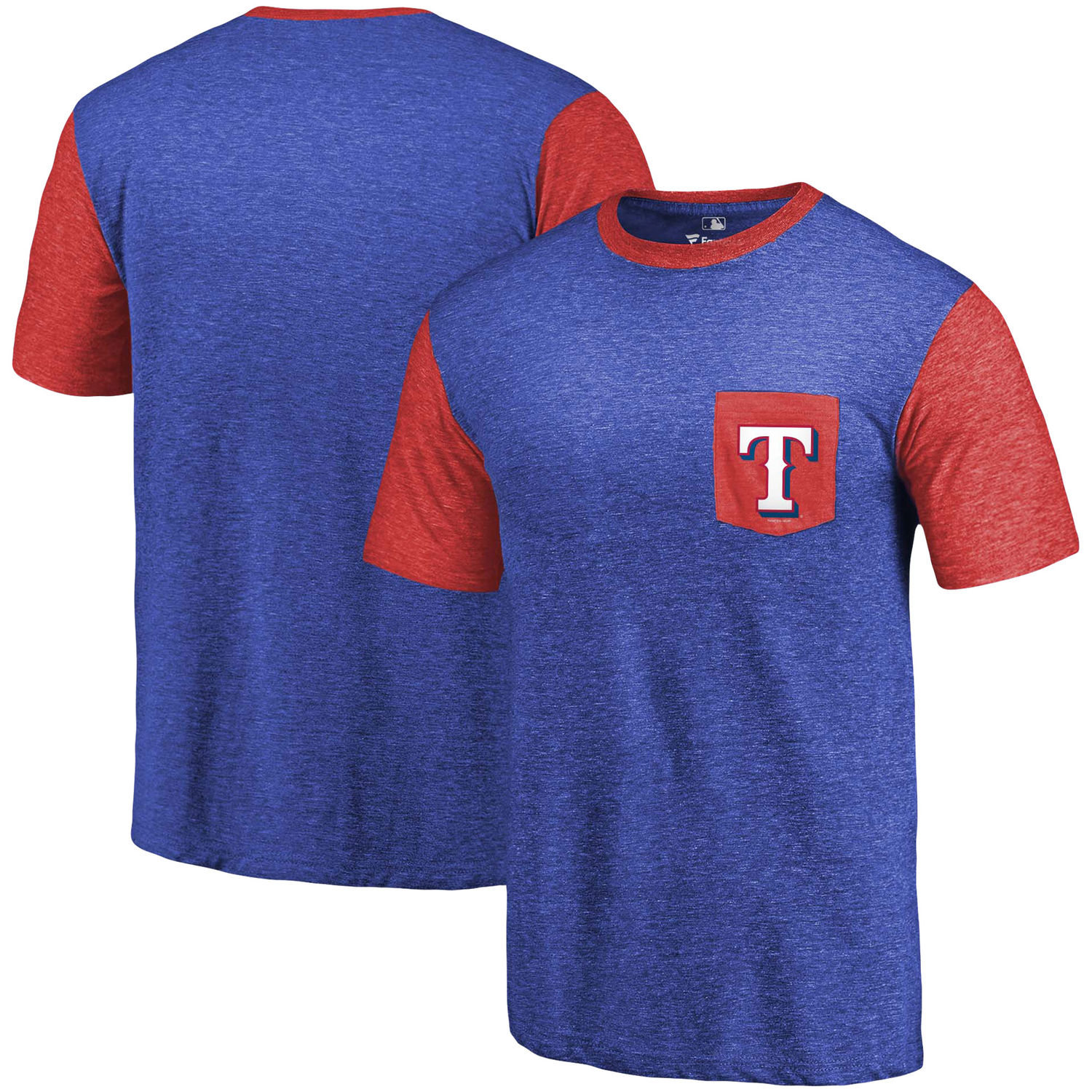 Men's Texas Rangers Fanatics Branded Royal-Red Tri-Blend Refresh Pocket T-Shirt
