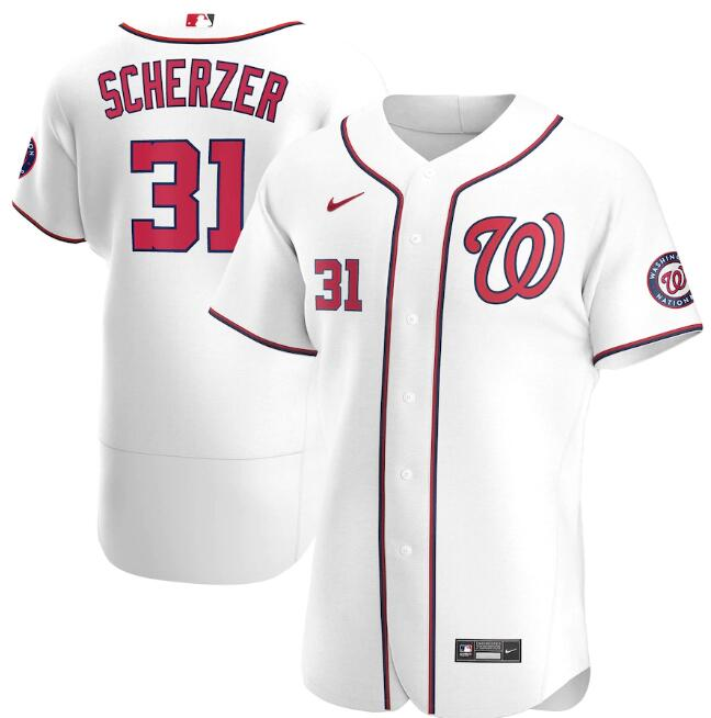 Men's Washington Nationals White #31 Max Scherzer Flex Base Stitched MLB Jersey