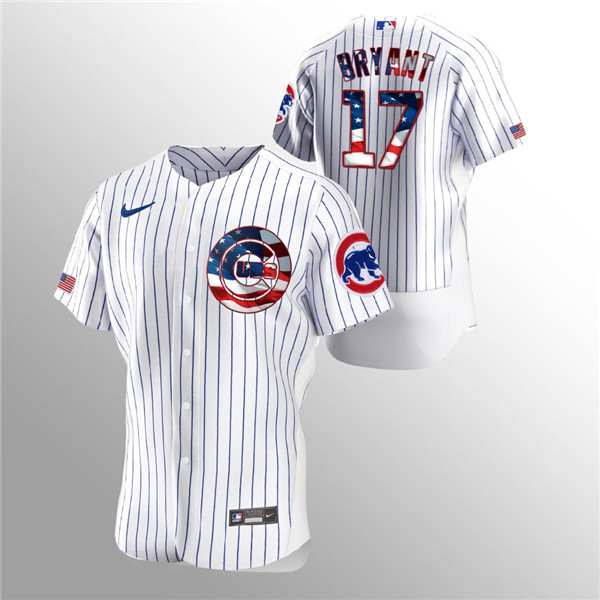 Men's Chicago Cubs White #17 Kris Bryant 2020 Stars & Stripes Flex Base Stitched MLB Jersey