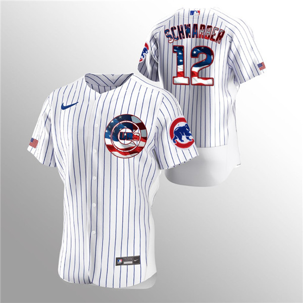 Men's Chicago Cubs White #12 Kyle Schwarber 2020 Stars & Stripes Flex Base Stitched MLB Jersey