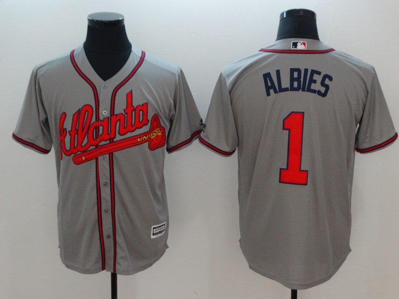 Men's Atlanta Braves #1 Ozhaino Albies Grey Flexbase Stitched MLB Jersey