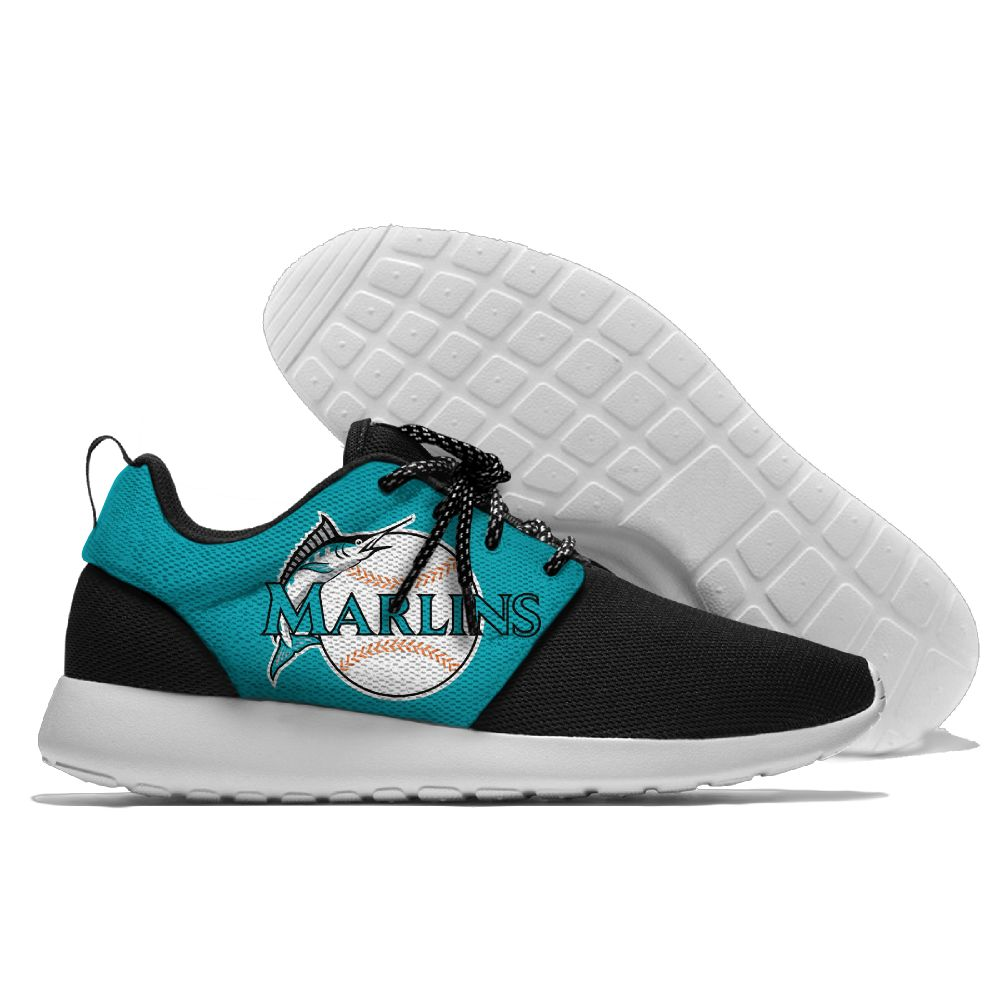 Women's Miami Marlins Roshe Style Lightweight Running MLB Shoes 004