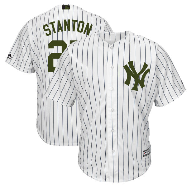 Men's MLB New York Yankees #27 Giancarlo Stanton White Majestic 2018 Memorial Day Cool Base Stitched Jersey
