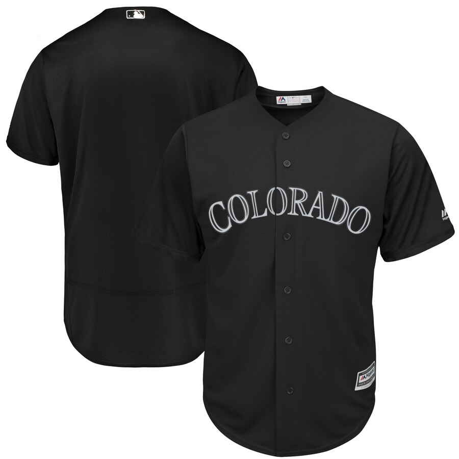 Men's Colorado Rockies Majestic Black 2019 Players' Weekend Team Stitched MLB Jersey