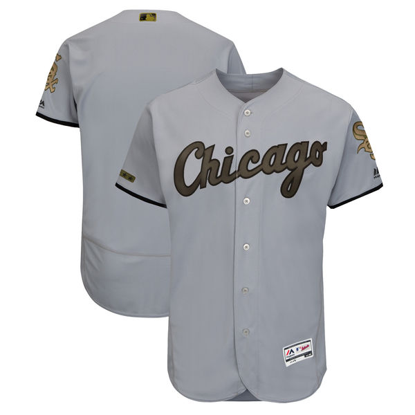 Men's Chicago White Sox Blank Gray 2018 Memorial Day Flexbase Stitched MLB Jersey
