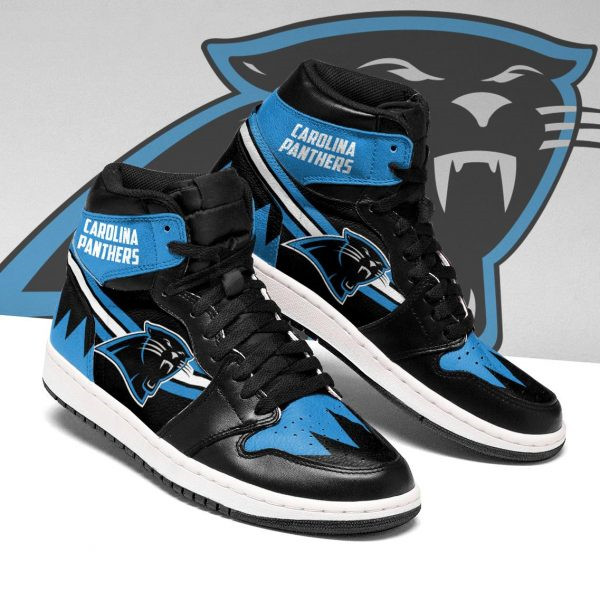 Women's Carolina Panthers AJ High Top Leather Sneakers 004