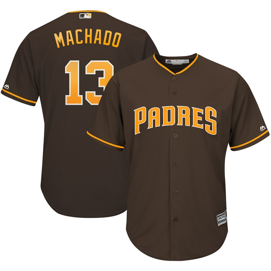 Men's San Diego Padres #13 Manny Machado Coffee Cool Base Stitched MLB Jersey
