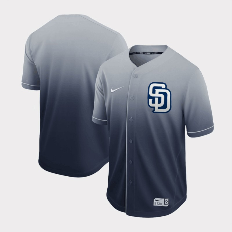 Men's San Diego Padres Grey Fade Stitched MLB Jersey