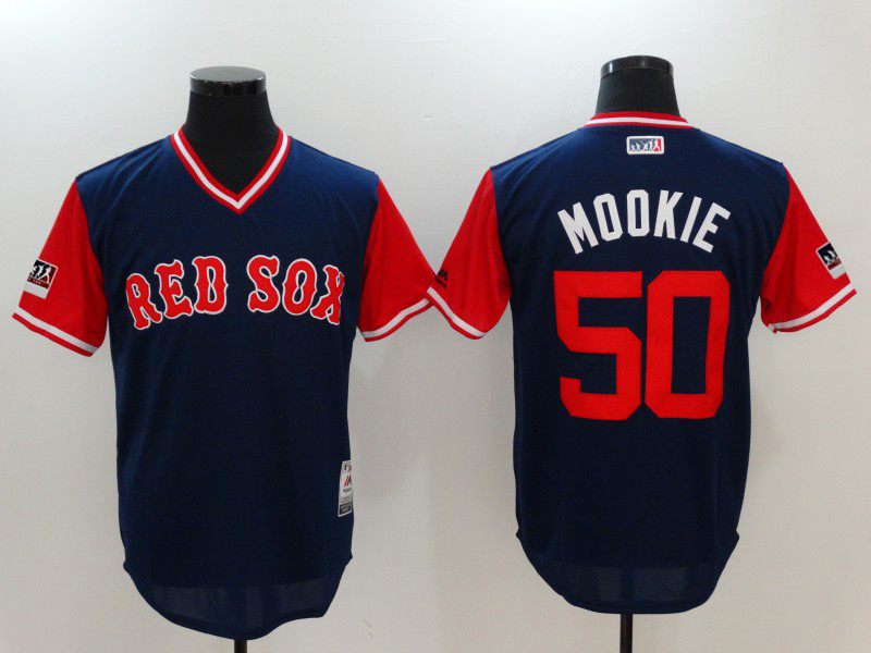 "Men's Boston Red Sox Mookie Betts ""Mookie"" Majestic Navy/Red 2018 Players' Weekend Jersey"