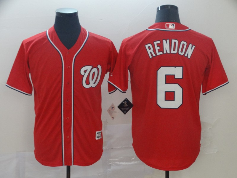 Men's Washington Nationals #6 Anthony Rendon Majestic Red 2019 Cool Base Stitched MLB Jersey