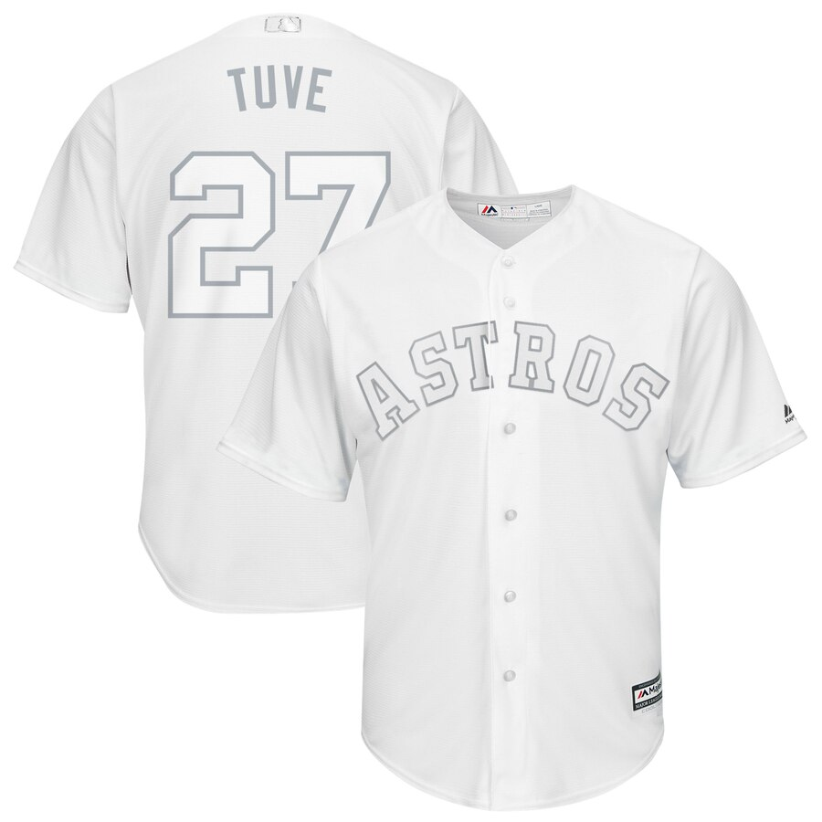 "Men's Houston Astros #27 Jose Altuve ""Tuve"" Majestic White 2019 Players' Weekend Pick-A-Player Replica Roster Stitched MLB Jersey"