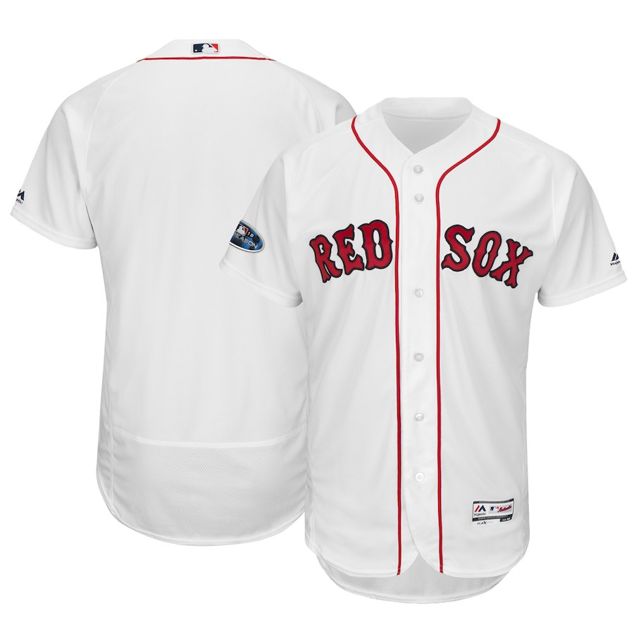 Men's Boston Red Sox Majestic White 2018 World Series Champions Home Flex Base Team Stitched MLB Jersey