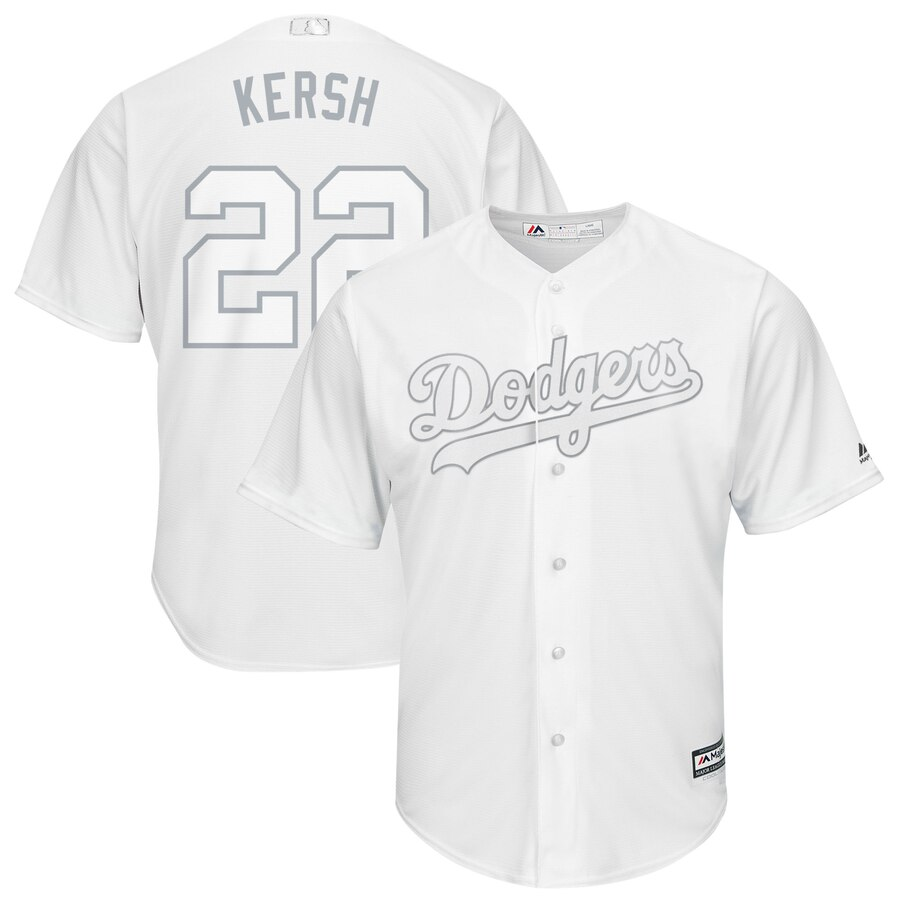Men's Los Angeles Dodgers #22 Clayton Kershaw Majestic White 2019 Players' Weekend Player Stitched MLB Jersey