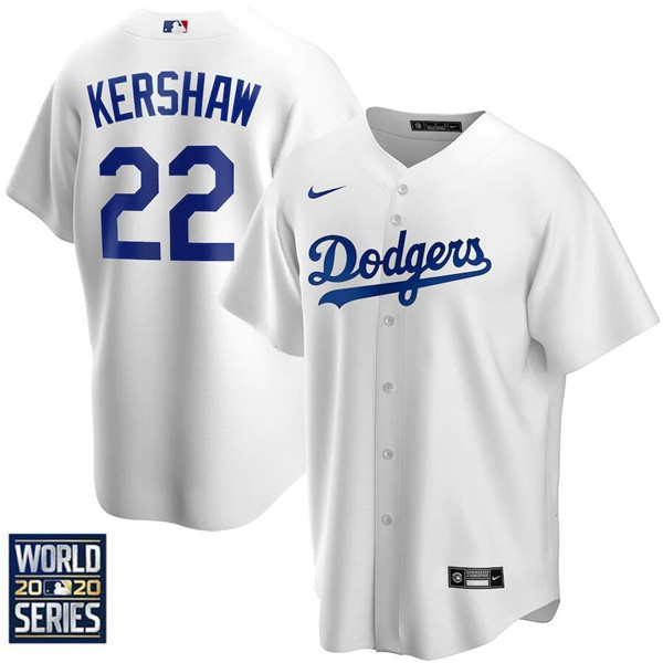 Men's Los Angeles Dodgers #22 Clayton Kershaw White 2020 World Series Bound stitched MLB Jersey