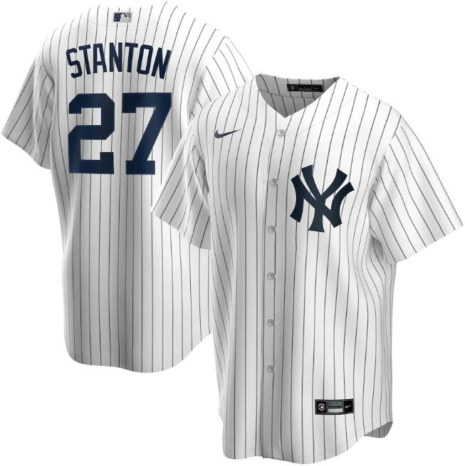 Men's New York Yankees White #27 Giancarlo Stanton Cool Base Stitched MLB Jersey.
