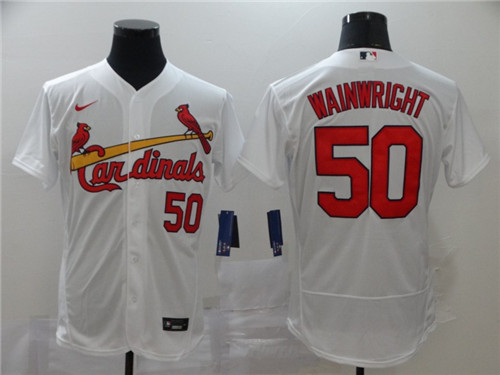 Men's St. Louis Cardinals #50 Adam Wainwright White Flex Base Stitched MLB Jersey