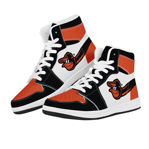 Women's Baltimore Orioles AJ High Top Leather Sneakers 001