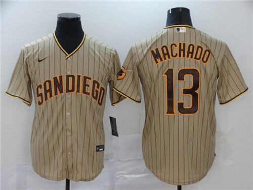 Men's San Diego Padres Tan Brown #13 Manny Machado Stitched MLB Jersey