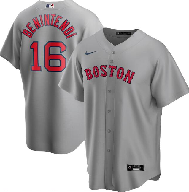 Men's Boston Red Sox Grey #16 Andrew Benintendi Cool Base Stitched MLB Jersey