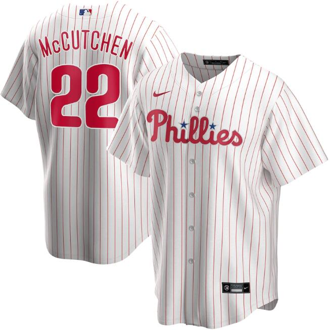 Men's Philadelphia Phillies White #22 Andrew McCutchen Cool Base Stitched MLB Jersey