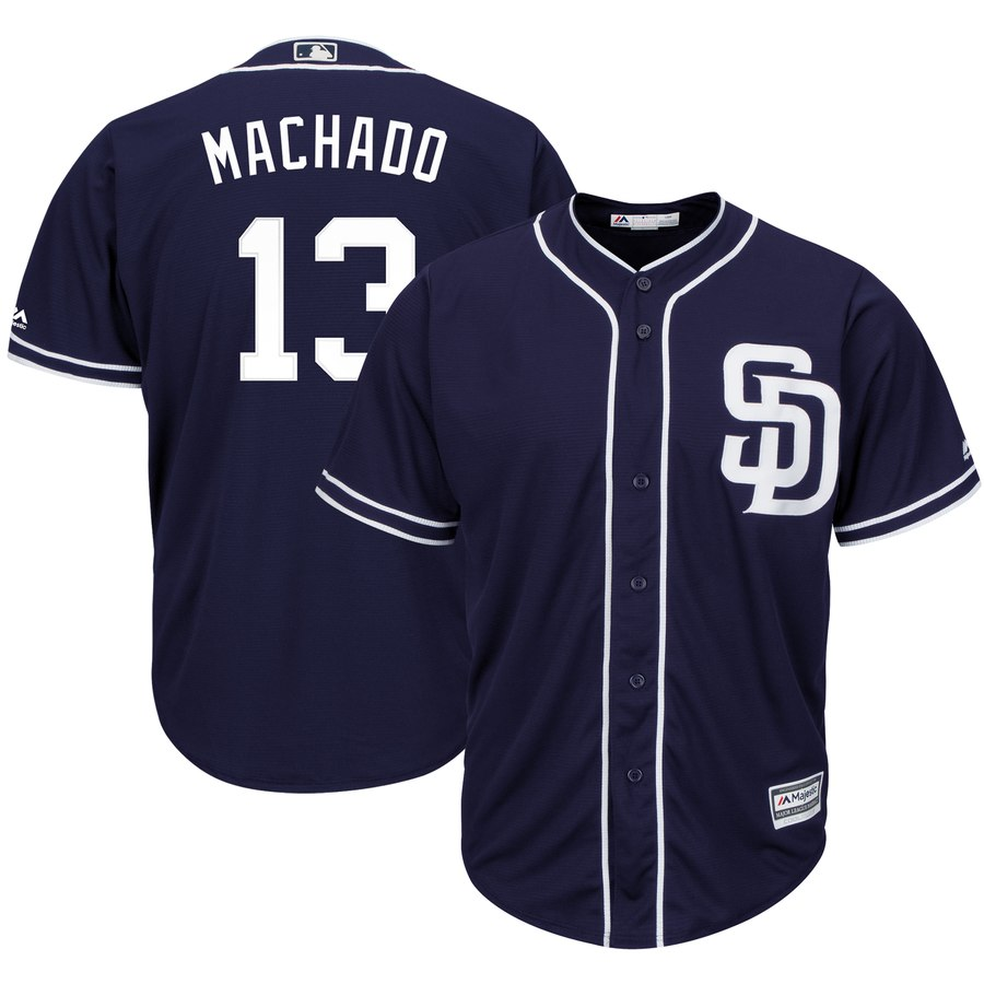 Men's San Diego Padres #13 Manny Machado Navy Cool Base Stitched MLB Jersey