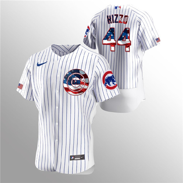 Men's Chicago Cubs White #44 Anthony Rizzo 2020 Stars & Stripes Flex Base Stitched MLB Jersey