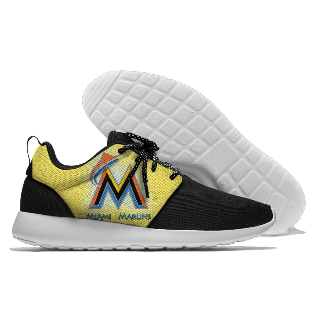 Women's Miami Marlins Roshe Style Lightweight Running MLB Shoes 005
