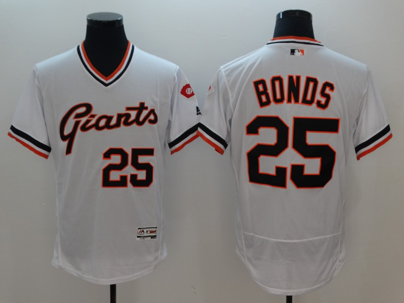 Men's MLB San Francisco Giants #25 Barry Bonds White White Throwback Stitched Jersey