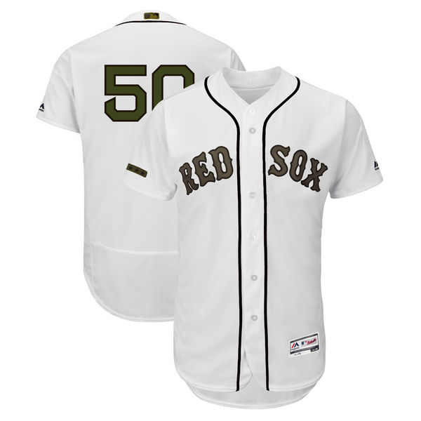 Men's Boston Red Sox #50 Mookie Betts White 2018 Memorial Day Flexbase Stitched MLB Jersey