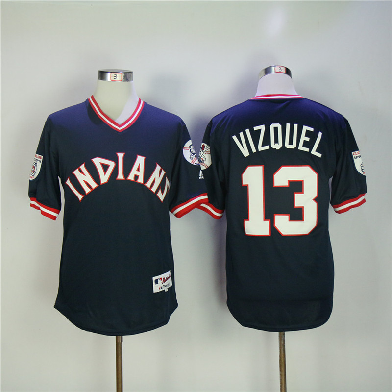 Men's Cleveland Indians #13 Omar Vizquel Navy Turn Back The Clock Stitched MLB Jersey