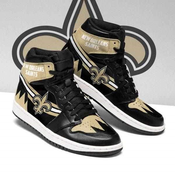 Women's New Orleans Saints AJ High Top Leather Sneakers 003