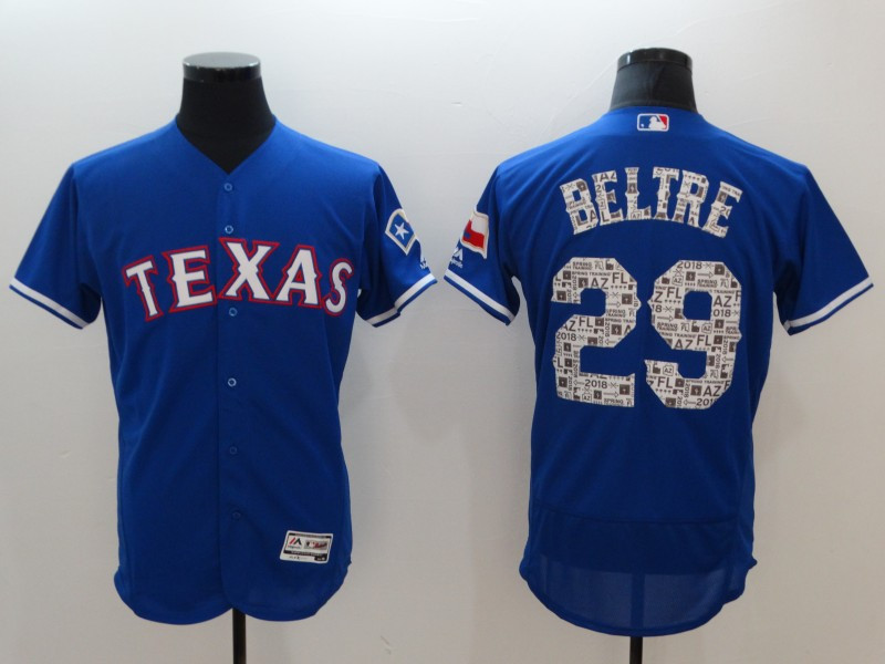 Men's Texas Rangers #29 Adrian Beltre Royal 2018 Spring Training Flexbase Stitched MLB Jersey