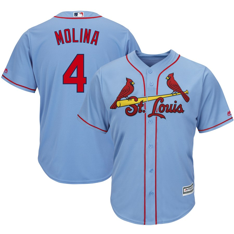 Men's St. Louis Cardinals #4 Yadier Molina Majestic Light Blue Cool Base Stitched MLB Jersey